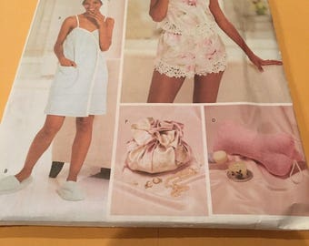Butterick 3349 Camisole, Shorts, Towel Wrap, Slippers, Head Wrap and Bag  Size 12-14-16   New Uncut