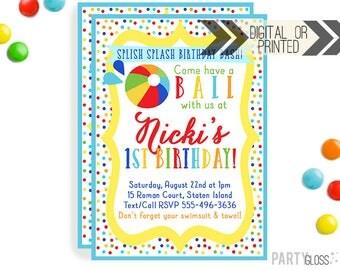 Beach Ball Invitation | Beach Ball Invites | Digital or Printed | Beach Ball Party | Beach Ball Printables | Pool Party Decorations