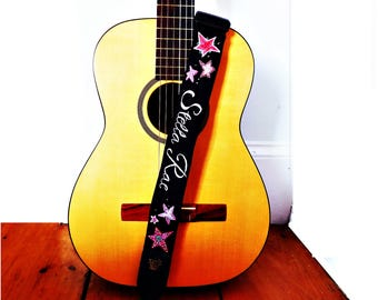 Custom Child's Guitar Strap- Hand Embroidered Monogram Name - With Embellishment of Choice/ OOAK Custom Music Strap