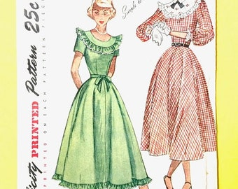 ON SALE Uncut 1940s or early 50s Simplicity 2524 Dress Pattern NO Directions Vintage Sewing Pattern Bust 36