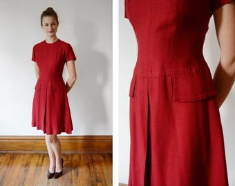 Early 1960s Red Drop Waist Dress - Petite XS