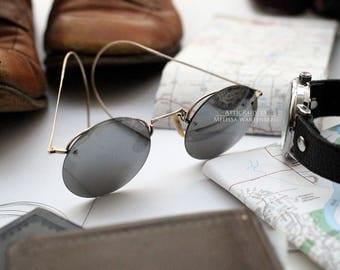 Vintage Sunglasses ,  Steampunk Sunglasses , Mens Sunglasses , Gold Sunglasses , Silver Sunglasses , Retro Sunglasses , Round Sunglasses