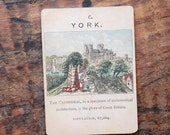"Vintage, York, ""Counties of England Series 1"", Single Game Card, Circa 1900s Victorian Era"