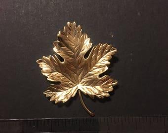 Gold filled leaf brooch