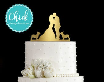 Two French Bulldogs Wedding Cake Topper Hand Painted In Metallic Paint With Couple Kissing