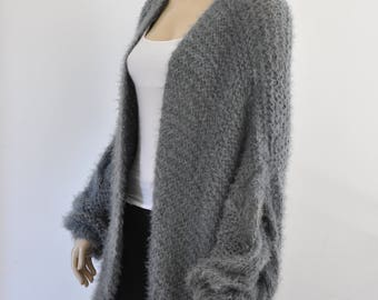 Gray Oversized Knit Cardigan Chunky Cable Knit Jacket Sweater Cardigan Slouchy Fluffy Hand Knitted Grey