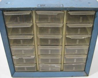 Akro Mils 15 Drawer Organizer Blue Metal Industrial Parts Bin Tool Chest Storage Box