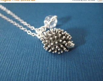 ON SALE Sterling Silver Hedgehog Necklace