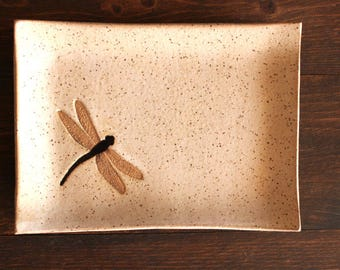 Ceramic DRAGONFLY Soap Dish - Handmade Speckled Oatmeal Stoneware Dragonfly Insect Soap Dish - Multipurpose Dish - Ready To Ship