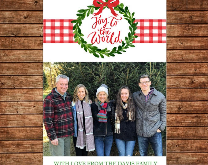 Christmas Holiday Photo Card Watercolor Wreath Gingham Joy to the World  - Can Personalize - Printable File or Printed Cards
