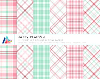 Happy Plaids 6 Digital Papers - 12 patterns for scrapbooking, cards, invitations, printables and more - instant download - CU OK