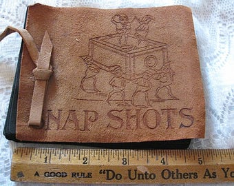 Vintage Suede Front Snap Shots Photo Album With Brownies Image Small As Found 5 Inches Wide 20+ VTG Photos Farm Horses Etc Read Details