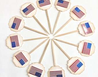 American Flag, Memorial day, Fourth of July, Labor Day, Veterans Day - Cupcake Toppers