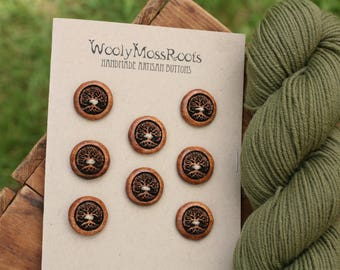 8 Madrone Tree Buttons- Oregon Madrone Wood- Wooden Buttons- Eco Craft Supplies, Eco Knitting Supplies, Eco Sewing Supplies