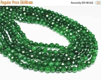 "20% OFF 7"" Gemstone STRAND - Jade Beads - 4mm Faceted Rounds - Emerald Green (7"" strand - 45 beads) - str1225"