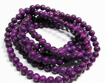 20% OFF LOOSE BEADS - Reconstituted Riverstone Beads - 4mm Rounds - Marbleized Grape Purple (30 beads) - gem839