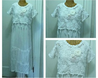 Upcycled Crochet Dress Wedding Small, Medium, Large Long Bridal Womens White Dresses Tassel Fringe Doily Boho Lagenlook Chiffon Roses