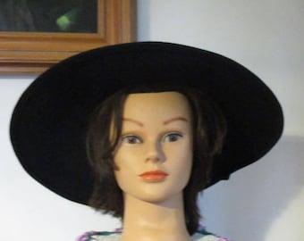 Women's Black Large Brim Hat Jacqueline Ferrar Hat Michael Howard 100% Wool