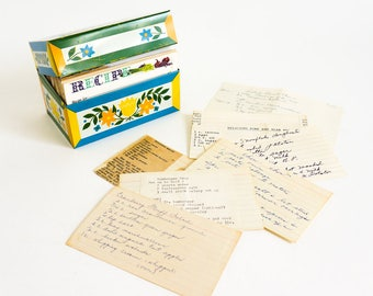 Vintage 1960s Tin Recipe Box with Collected Handwritten, Clipped and Typed Recipes