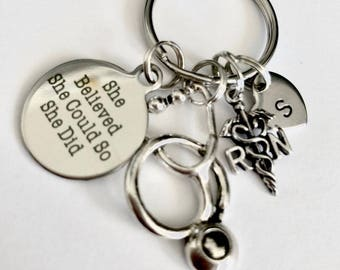 """Hand stamp Registered Nurse """" She Believed She Could, So She Did """"- RN Stethoscope Charm keychain"""
