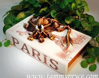 Ooak Polymer Clay Brown Sad Little Dragon Sculpture on Wooden Paris / Box #827 Fantasy Home Decor Storage