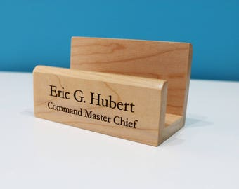 Personalized Maple Business Card Holder - Laser Engraved