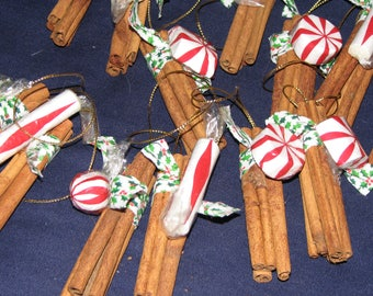 Pair of Real Cinnamon stick Country Christmas decorations / ornaments are handmade from Ohio