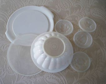 Vintage Housewares Tupperware Jello Mold with Five Different Tops and Serving Tray