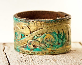 Tooled Leather Cuff Bracelet Made From Vintage Belt