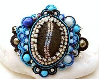black lava statement bracelet cuff | energetic jewelry  | vibrant gemstone boho bracelet | magnetic bracelet |blue black  | Eye of Horus