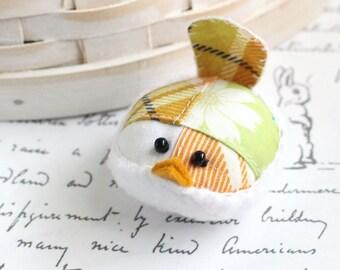 Bird Pincushion Plaid Orange and Green Bird Pincushion Pin Keep Kawaii Bird