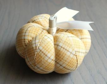 Pumpkin Pincushion Rustic Yellow Plaid Print Plaid Pin Keep