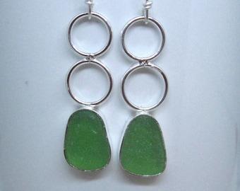 Sea Glass Earrings - Bright Green Sea Glass and Sterling Earrings