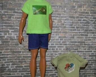K3PC-33) Ken doll clothes, 2 printed T-Shirts and 1 shorts