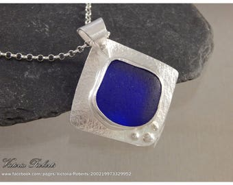 Cobalt Blue Sea Glass Necklace in Fine Silver