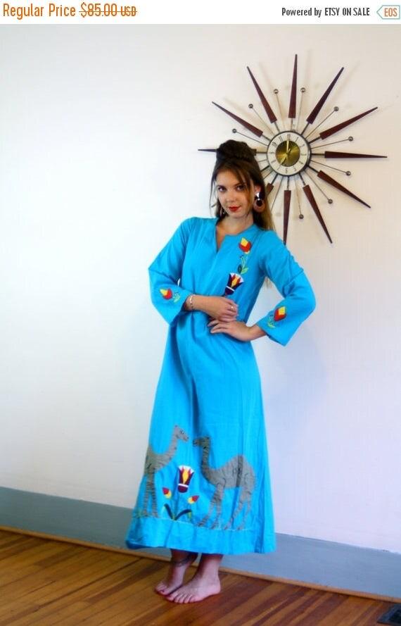 SALE 50% OFF Vintage Blue Cotton Camel Kaftan Egypt Cover Up Folk Art Mu Mu Applique Stitched Ethnic Hippie Festival Dress Turquoise 70s Ind