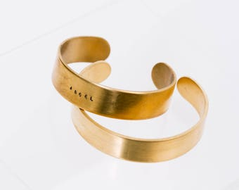 Custom engraved name brass bracelet cuff