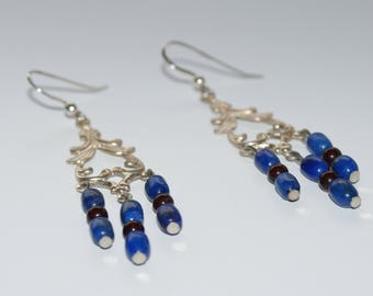 Blue and deep red earrings