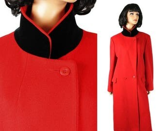ON SALE Winter Trench Coat Sz L Long Red Soft Wool Black Cotton Velvet Collar Mg Kinsler Free Us Shipping