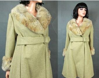 ON SALE SALE! Vintage Princess Coat Xs Rabbit Fur Collar Cuffs Sage Green Wool Tweed Flared Free Us Shipping