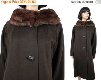 ON SALE Mink Collar Winter Coat XL Vintage 60s Long Dark Brown Wool Real Fur China Mink Free Us Shipping