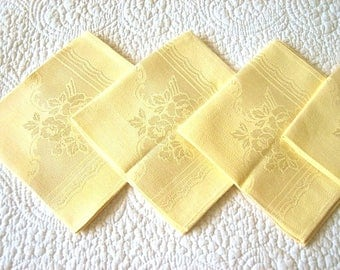 DAMASK Napkins for Tablecloth Replacement Set Vintage COTTON Blend SET 4 Yellow