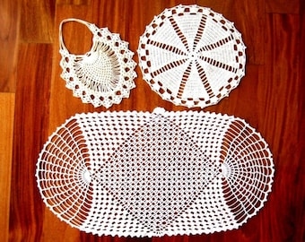 Doily HAND CROCHETED Lace Dresser Runner Scarf Set 3 with Pines Purse