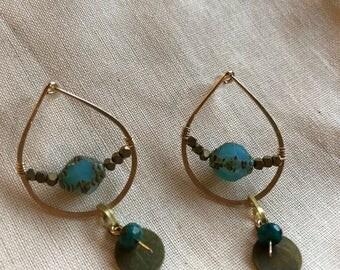 Drop post 'glass half full' earrings, gold fill, czech glass, bronze, turquoise