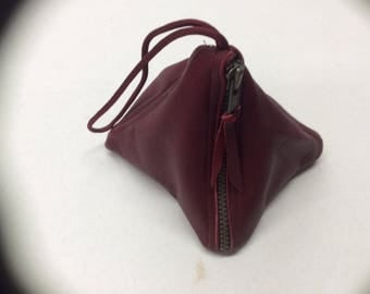 Burgandy leather wristlet