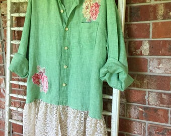 Altered, recycled, repurposed, plus size tunic, green check with lace, romantic, shabby chic