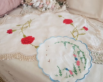 two vintage doilies, 1930s doileys, floral red blue pink, pretty crochet edge, shabby home