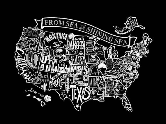 United States Chalkboard Map Artprintposter - Us map chalkboard
