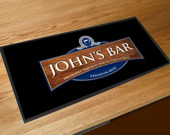 Personalised wood effect beer label bar sign runner pubs clubs & cocktail bars **ANY NAME**