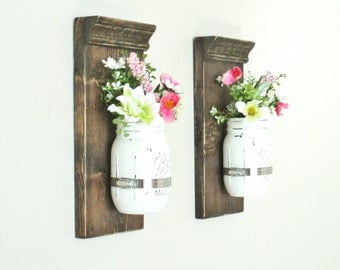 Lot de 2 suspension Mason Jar applique... Decoration murale bois... Ferme rustique Decor... Mason Jar mur Decor.Rustic teinté appliques murales.